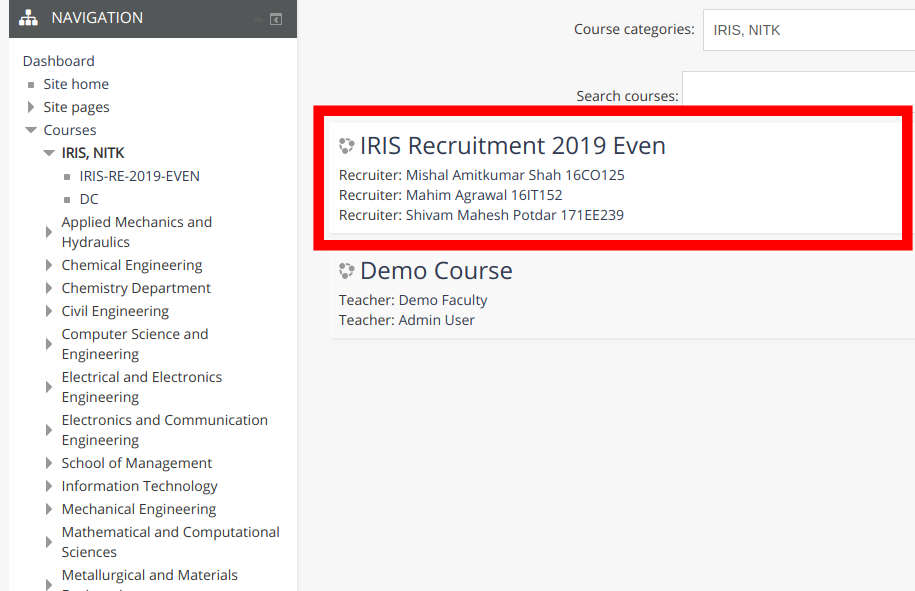 IRIS Recruitment Procedure for Students (2019)