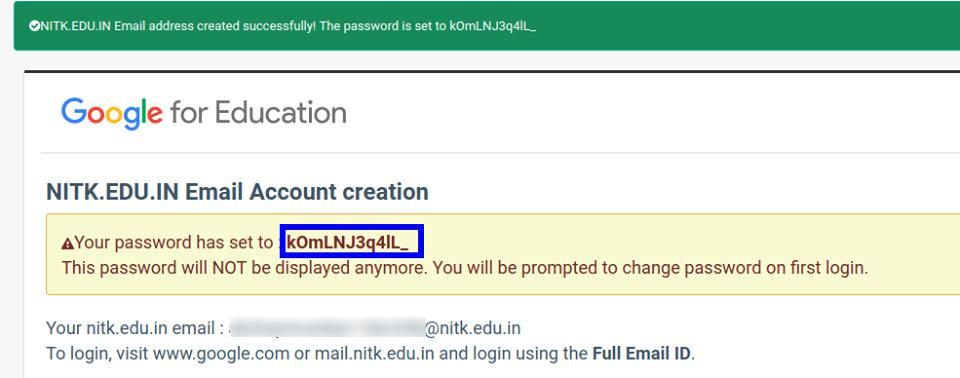 Account Password Generated